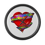 Red Heart w/ Ribbon Large Wall Clock