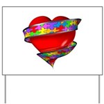 Red Heart w/ Ribbon Yard Sign