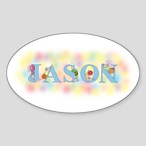 """Jason"" with Mice Oval Sticker"