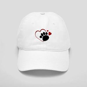 ac6cef77a5e Dog Paw Print with Love Heart Cap