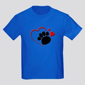 Dog Paw Print with Love Heart Kids Dark T-Shirt
