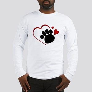 Dog Paw Print with Love Heart Long Sleeve T-Shirt