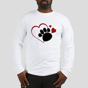 Dog Paw Print with Love Heart Long Sleeve T-Shirt