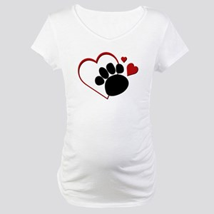 Dog Paw Print with Love Heart Maternity T-Shirt