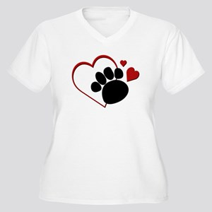 Dog Paw Print with Love Heart Women's Plus Size V-