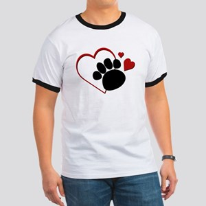 Dog Paw Print with Love Heart Ringer T