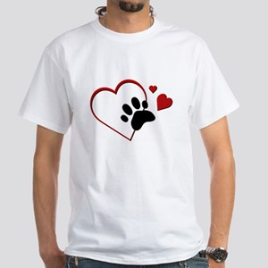 Cat Paw Print and Love Hearts White T-Shirt