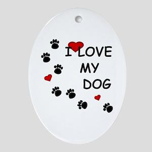 I Love my Dog Paw Prints Oval Ornament