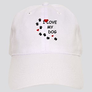 I Love my Dog Paw Prints Cap