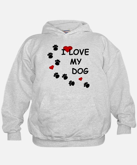 I Love my Dog Paw Prints Hoodie