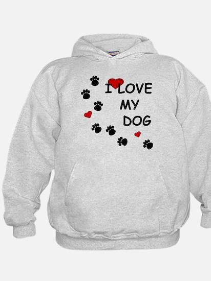 I Love my Dog Paw Prints Hoody