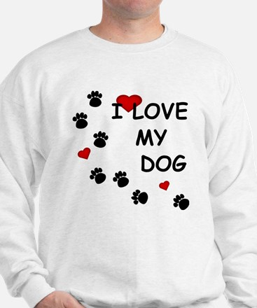 I Love my Dog Paw Prints Sweater