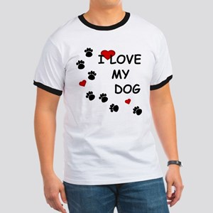 I Love my Dog Paw Prints Ringer T