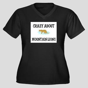 Crazy About Mountain Lions Women's Plus Size V-Nec