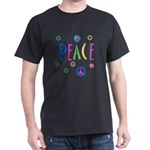 Multicolor Peace Symbols Dark T-Shirt