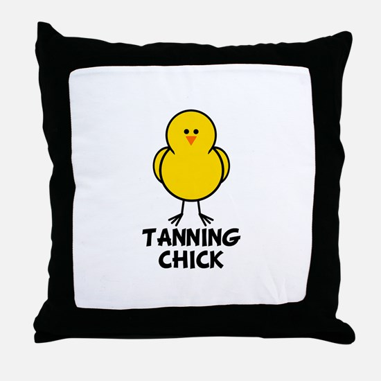 Tanning Chick Throw Pillow