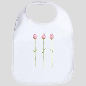 3 Pink Rosebuds Bib