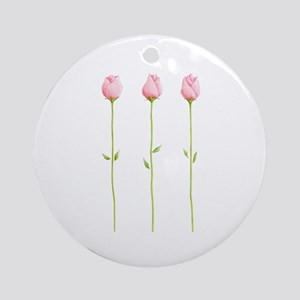 3 Pink Rosebuds Ornament (Round)