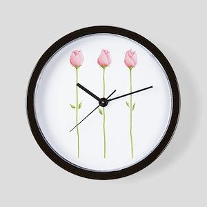 3 Pink Rosebuds Wall Clock