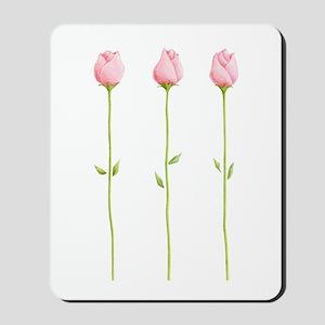 3 Pink Rosebuds Mousepad