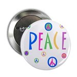 Pastel Peace Symbols Button