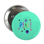 Green Pastel Peace Symbols Button