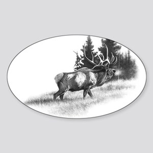 Elk Oval Sticker