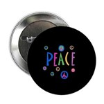 Black Pastel Peace Symbols Button