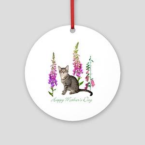 Cats in Foxglove Ornament (Round)