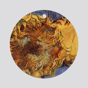 Van Gogh Two Cut Sunflowers Ornament (Round)