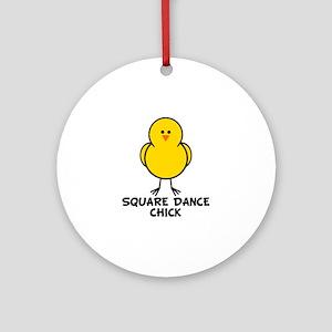 Square Dance Chick Ornament (Round)