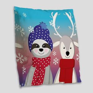 reindeer christmas sloth Burlap Throw Pillow