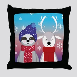 reindeer christmas sloth Throw Pillow