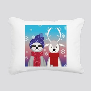reindeer christmas sloth Rectangular Canvas Pillow