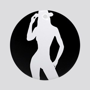 Nude Silhouette w/Hat3 Ornament (Round)