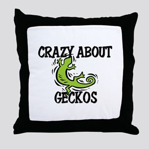 Crazy About Geckos Throw Pillow