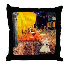 Cafe / Scottie (w) Throw Pillow