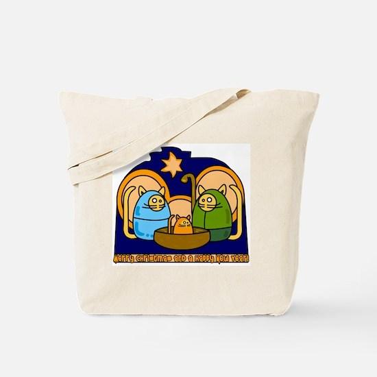 Christmas Cat Nativity Scene Tote Bag
