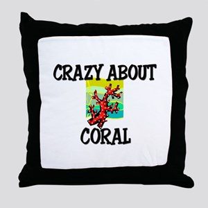 Crazy About Coral Throw Pillow