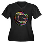 Impossible Geometry Women's Plus Size V-Neck Dark