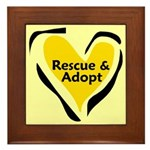 Yellow Rescue and Adopt Framed Tile