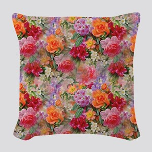 Colorful Spring Flowers Woven Throw Pillow