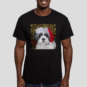 Christmas Shih Tzu Men's Fitted T-Shirt (dark)