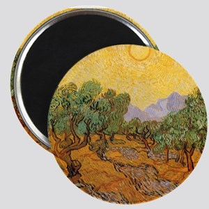 "Van Gogh Olive Trees Yellow Sky And Sun 2.25"" Magn"