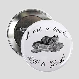 "A Cat, A Book 2.25"" Button"