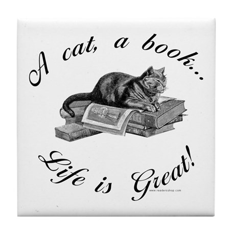 A Cat, A Book Tile Coaster