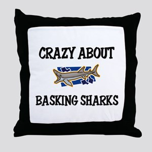 Crazy About Basking Sharks Throw Pillow