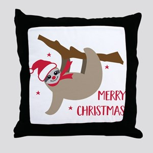 Merry Christmas Sloth Throw Pillow
