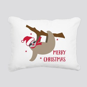 Merry Christmas Sloth Rectangular Canvas Pillow