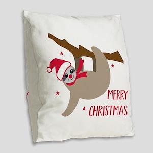 Merry Christmas Sloth Burlap Throw Pillow